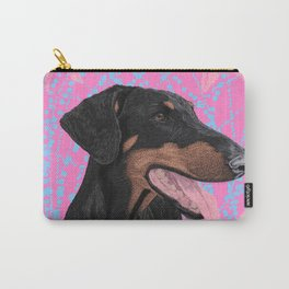 Happy doberman dog - Pink Carry-All Pouch