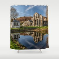 downton abbey Shower Curtains featuring Abbey Reflection by Adrian Evans