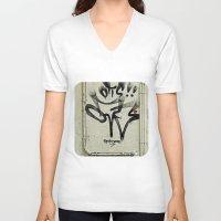 ladybug V-neck T-shirts featuring Ladybug  by Ethna Gillespie