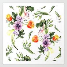 Watercolor spring floral pattern Art Print