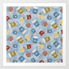 Cozy Mugs - Snowy Day Art Print