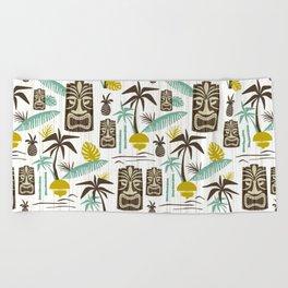 Island Tiki - White Beach Towel