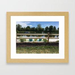 Sunny Lake Beach Framed Art Print