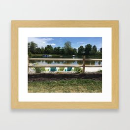 Sunny Lake Beach Framed Art Print