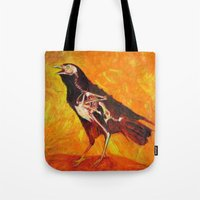 transparent Tote Bags featuring Transparent Raven by Lennon Michalski