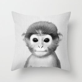Baby Monkey - Black & White Throw Pillow