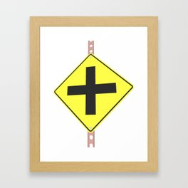 """Cross road"" - 3d illustration of yellow roadsign isolated on white background Framed Art Print"