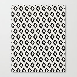 Modern Diamond Pattern 2 Black on Light Gray Canvas Print