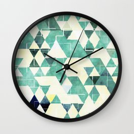 Abstract Green Triangles, Watercolor Pattern Wall Clock