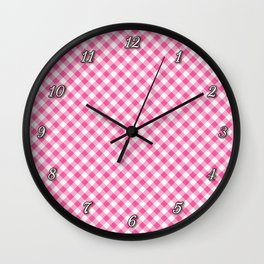 Pink Roses in Anzures 1 Gingham 1 Wall Clock