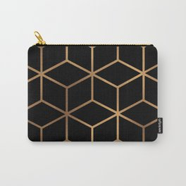 Black and Gold - Geometric Cube Design Carry-All Pouch