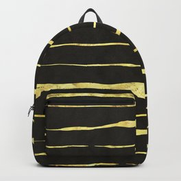 Gold Wiggly Stripes on Black Backpack