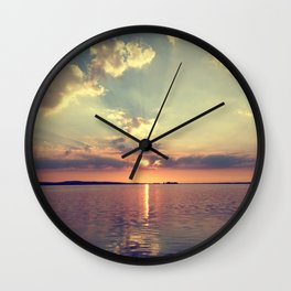 Sunset Steinhuder Meer At The Lake Sun Water Wall Clock