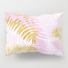 Aloha- Pink Tropical Palm Leaves and Gold Metal Foil Leaf Garden Pillow Sham