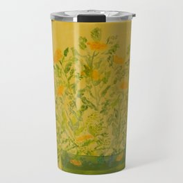 Marigolds in Pot Acrylic Art hand-painted by Rosie Foshee Travel Mug