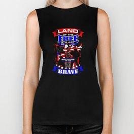 Land of the Free Because Brave Patriotic Veteran Biker Tank