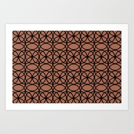 Circle Heaven 2 on Sherwin Williams Cavern Clay SW7701, Overlapping Black Ring Design Art Print