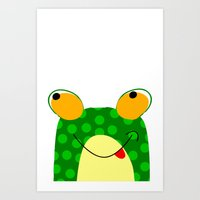 frog Art Prints featuring Frog by Jessica's Illustrationart
