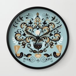 Scandinavian Winter Celebration With Birds Wall Clock