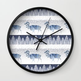 SANTA CLAUSE'S REINDEERS IN THE FREEZING COLD NORTH POOL Wall Clock
