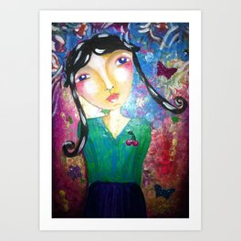 The girl with the butterflyes Art Print