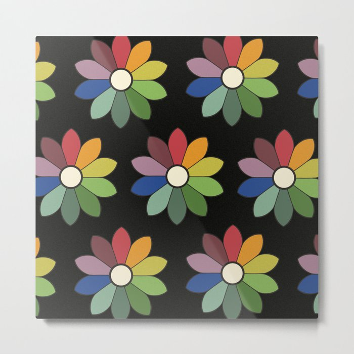 Flower pattern based on James Ward's Chromatic Circle (vintage wash) Metal Print