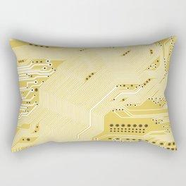 Printed circuit - motherboard in yellow Rectangular Pillow