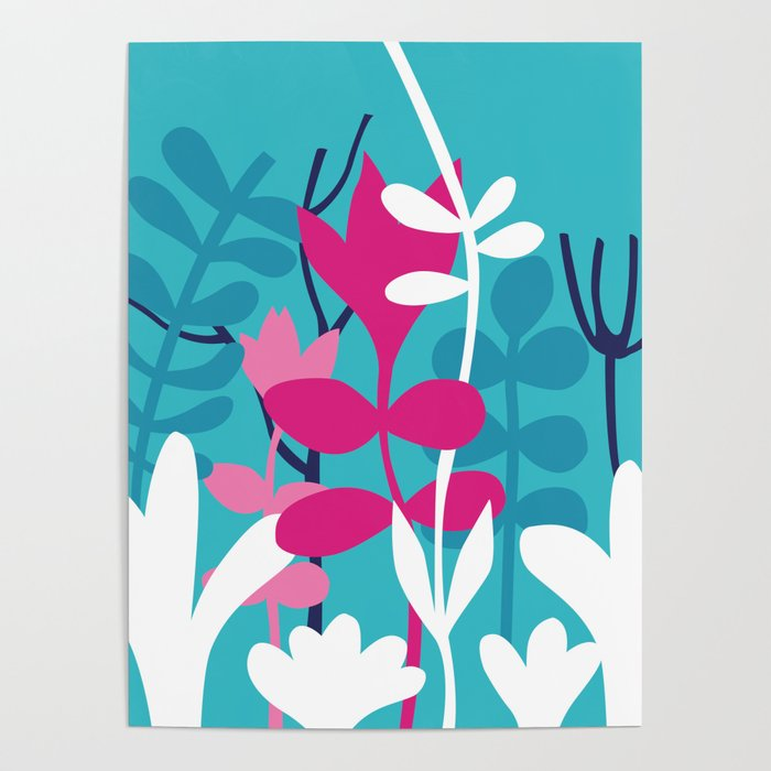 Flower Bouquet in Blue and Pink Poster