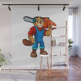 Beaver Lumberjack Cartoon Wall Mural