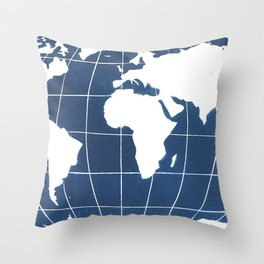 Navy Map of the World Throw Pillow
