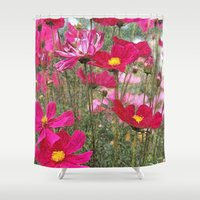 cosmos Shower Curtains featuring Cosmos by Cherie DeBevoise