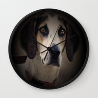 the hound Wall Clocks featuring Hound by Doug McRae