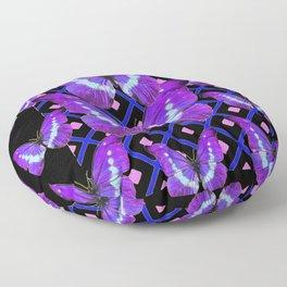 Purple Butterflies Migration on Black Pattern Art Floor Pillow