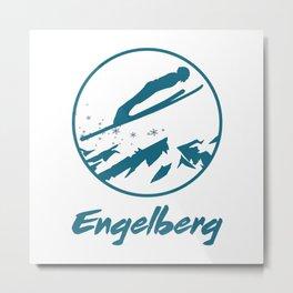 Engelberg Ski Jumping  TShirt Ski Jumper Shirt Ski Jump Gift Idea Metal Print