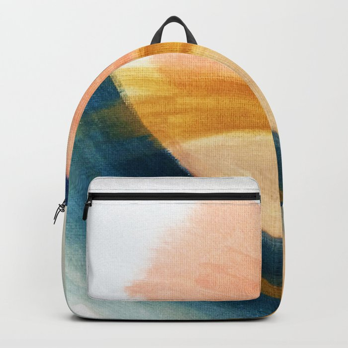 Slow as the Mississippi - Acrylic abstract with pink, blue, and brown Backpack