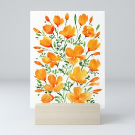 Watercolor California poppies Mini Art Print
