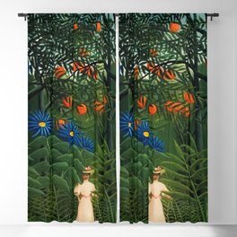 'Woman walking amid Tropical Blue Cornflowers in an exotic forest' by Henry Rousseau Blackout Curtain