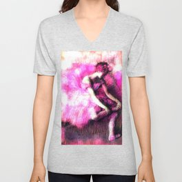 Degas The Dancer Hot Pink Bokeh Unisex V-Neck
