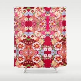 Red Floral Burst Shower Curtain