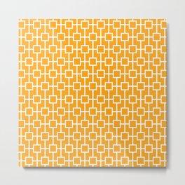 Orange Lattice Pattern Metal Print