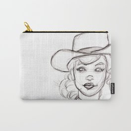 Pencil Drawing Sketch of Retro Girl in Cowboy Hat Carry-All Pouch