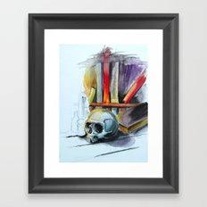 Skull Library Framed Art Print