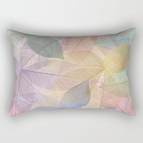 Colored Leaf Pattern Rectangular Pillow