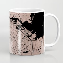 Amsterdam Rosegold on Black Street Map Coffee Mug