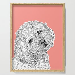 Cockapoo Dog Portrait ( coral background ) Serving Tray
