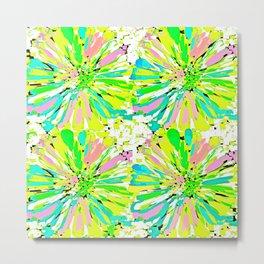 Dahlia Blue Green and Pink Metal Print