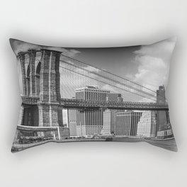 MANHATTAN SKYLINE & BROOKLYN BRIDGE Panorama Monochrome Rectangular Pillow