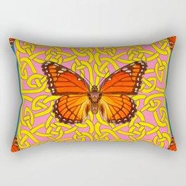 Teal Color Orange Monarch Butterflies Celtic Coral Art Rectangular Pillow