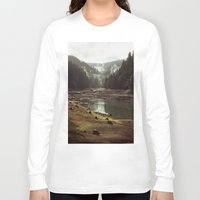 drawing Long Sleeve T-shirts featuring Foggy Forest Creek by Kevin Russ