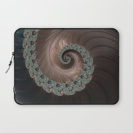 Copper, Bronze and blue steely fractal swirl abstract Laptop Sleeve